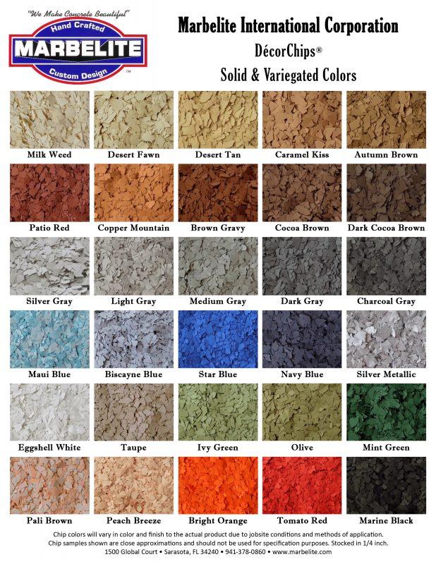Color Charts Marbelite International Corporation